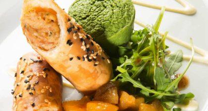 Fado: Alheira Sausage On Crispy Shell with Turnip Pudding