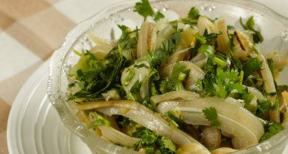 A lorcha: Pigs Ear with Coriander